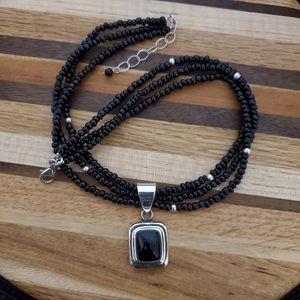 Silpada Onyx Pendant & Glass Bead Necklace